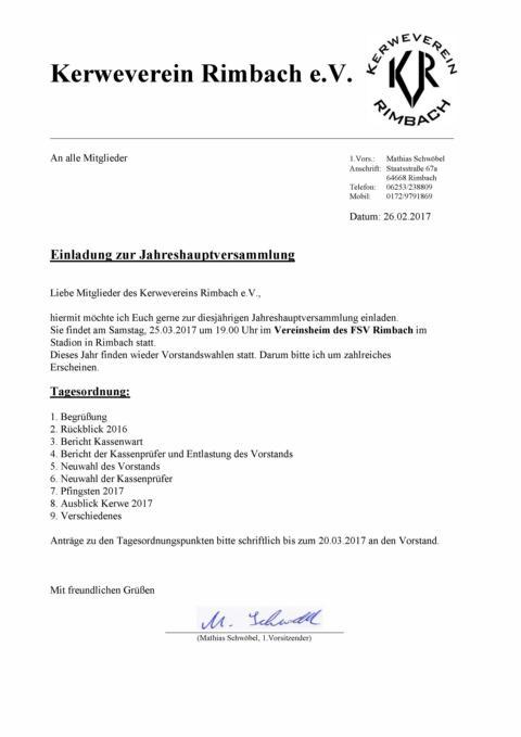 einladung jahreshauptversammlung 2017, Einladung